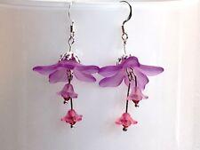 Con elemento de cristal de Swarovski Lucite pendientes Look Vintage Floral Lila Art Nouveau