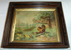 ca. 1875 Antique Color Lithograph HEN & DUCKLINGS Framed Chickens Ducks Farm
