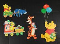Vintage Winnie The Pooh Wall Hanging Piglet Tigger Eeyore Cardboard 5 Piece Baby