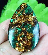 C5854 48x30x8mm Malachite Gold Copper Bornite Stone Teardrop Pendant Bead