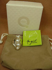 HAGIT GORALI Elongated Sterling Silver Freshwater Pearl Ring QVC - Size 8 - NEW