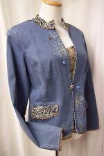 Nancy Bolen City Girl Jean Jacket & Tank Set Size 12 Embroidery Beading Lace