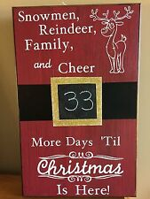 Christmas Countdown Chalkboard Santa's Belt Buckle Reindeer Sign