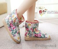New Fashion Ladies Ankle Boots Warm Winter Flats Floral Folk Casual Shoes Size