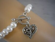Pearl Bracelet Antique Silver Heart Charm Toggle Clasp Adult & Childs Sizes 10VA
