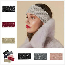 Women's Pearl Headband Ladies Knitted Hair Band Winter Warm Elastic Head Band