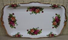 Royal Albert Old Country Rose Large Rectangular Sandwich Tray Cookie Platter S2