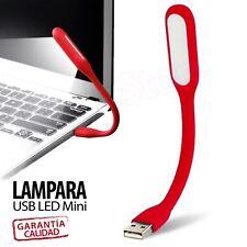 LAMPARA USB LED FLEXIBLE MINI LUZ LINTERNA PARA PORTATIL PC SOBREMESA LEER COLOR