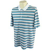 Adidas Golf Men's Climacool Short Sleeve Gray Blue Stripe Logo Polo Shirt Medium