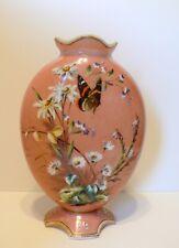 "Antique Bohemian Czech HARACH Flowers Butterfly Opaline Glass Vase 11 3/8"""