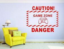 Gamer Wall Mural Sticker Decal Vinyl Decor Caution Zone Video Game Player