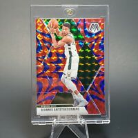2020 MOSAIC Giannis Antetokounmpo RED BLUE HOLO REACTIVE PRIZM -INVEST -w/ CASE