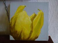 Tulip Still life original Oil canvas painting signed Art unframed 2007 Spring