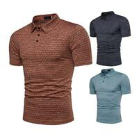 2018 Men Jacquard Solid Slim Fit T-shirt Short Sleeve Polo Collar Shirt Tee Tops