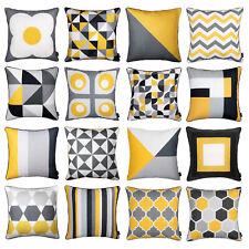 "Modern Geometric Mustard Yellow and Grey Stylish Pillow Case Sofa Cover 45cm 18"""