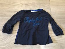 Baby Girls Replay And Sons Age 6 Months Black Long Sleeved Thin Top