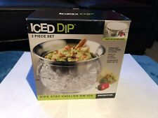 Prodyne Iced Dip 3 Piece Set Stainless Steel Serving Bowl W/Lid Host A Party NIB