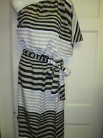 Mud Pie Flutter Sleeve Maxi Dress, Black Tan Striped, Small (4-6), NWT