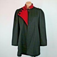 VTG 80s Worumbo UNION MADE Opera Swing Red Black Dress Coat M/L Gothic Evening