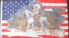Chief Indian US Flag 5x3 American History USA Line Barn Dance Wild West Western