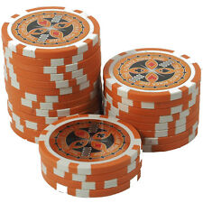 50 Pokerchips 13g Clay (Ton) Wert 10000 orange Metallkern Ultimate Poker Laser