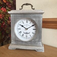 vintage Washed Wood Mantle Clock Rustic Country roman numerals table Clock 23cm