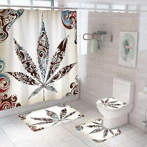 Leaf Bathroom Rug Set Shower Curtain Thick Non-Slip Toilet Lid Cover Bath Mat