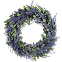 Kuenstlicher Kranz, Tuer Kranz 17 Zoll Lavendel Fruehling Kranz Runde Kranz I2B1