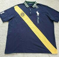 BIG & TALL Mens Polo Ralph Lauren Big Pony Mesh Polo Shirt 3XLT Navy/Yellow