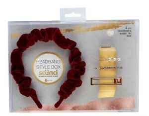 scunci Rouched Headband & Bobby Pin Gift Set - Bordeaux Red Burgundy - 4pk