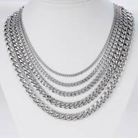 3/5/7/9/11mm MENS Unisex Chain Stainless Steel Silver Curb Link Necklace 18-36''