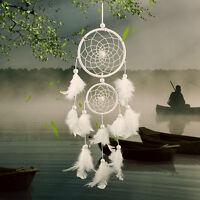Weiß Feder Perlen Dreamcatcher Traumfänger Indianer Träume Windspiel Dekor