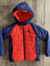 Boys Under Armour Hooded Puffer Jacket Orange/ Dark Navy Size 6 Euc
