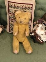 """17"""" ANTIQUE/VINTAGE MOHAIR  4 JOINTED STRAW STUFFED TEDDY BEAR"""