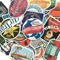 55pcs/Set Vintage Old Fashioned Style Luggage Suitcase Stickers Travel Y0D3