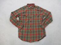 Ralph Lauren Polo Shirt Adult Medium Brown Red Plaid Long Sleeve Casual Mens