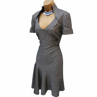 Karen Millen Grey Galaxy Wool Blend Work Office Wiggle Fit Flare Dress UK 12/40