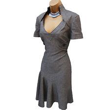 Karen Millen Grey Galaxy Wool Blend Work Office Wiggle Fit Flare Dress UK 12/40
