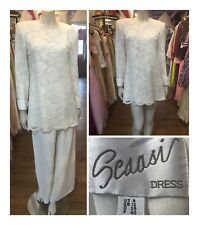 Vintage 1990s Ivory lace Arnold Scaasi Dress 2 pc top and pants Sz 8 Us