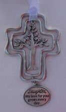 xd Daughter my love grows every day 3d TREE OF LIFE Cross CHARM ORNAMENT GANZ