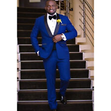 Royal Blue Wedding Suits For Men Slim Fit Custom 3 Piece Tuxedo Prom Groom Suit