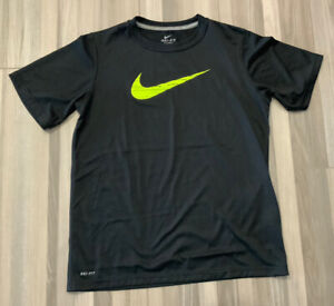 Boys Nike Dri-Fit Shirt Black with Neon Yellow Swoosh  Size Large Mint Condition