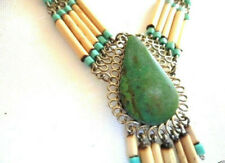 VANESSA MOONEY Necklace Eeva Fringe Bamboo Beaded Turquoise Pendant   NEW