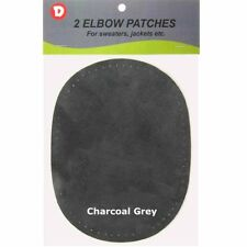 2 Natural Suede Leather Sew-On Elbow Repair Patches 4.5 x 5.5 in - Charcoal