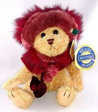 "RUBY Red "" Bear of HAPPINESS "" TEDDY BEAR Brass Button PLUSH Stuffed 2004 MWMT"