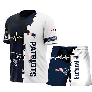 New England Patriots Mens Tracksuit Set Short Sleeve T Shirt Shorts Casual Suits