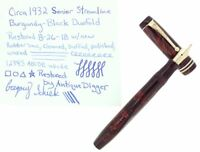 CIRCA 1932 PARKER SENIOR STREAMLINE DUOFOLD BURGUNDY BLACK FOUNTAIN PEN RESTORED