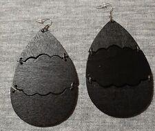 GORGEOUS BLACK Large all wood chandelier dangle Earrings new handmade