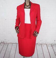 KASPER (M) Womens Red 4 Hidden Button Blazer Pencil Skirt Suit 8 Lined QUALITY