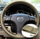 Zone Tech Steering Wheel Cover With Needles & Thread DIY Beige Leather Sew On